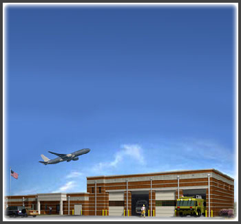 New 21,000 sq. ft. firestation to service the 5th runway and proposed southern airport facilities. It consists of an 8,022 sq. ft. vehical storage area, 3,000 sq. ft. storage area, and 8,000 sq. ft. common and dormitory area.