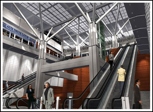 Design of a 12-Gate Expansion and East and West APM Stations onto the existing Concourse B. The stations include 2-story atrium space open to the platform level below with provisions for four car trains.