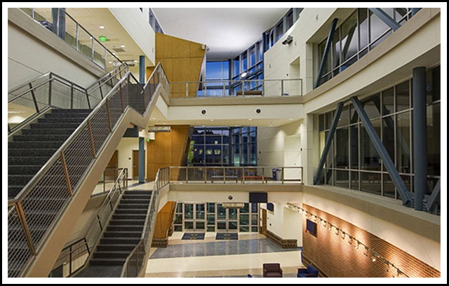 "The 81,742 square foot, three story Higher Technology Center houses labs, classrooms, offices, lecture halls, storage and work rooms. The Center provides flexible computer space, network administration, and geographic information systems ""smart"" classrooms, as well as graphic art multimedia rooms and other high tech programs spaces. Architect: Heery International"