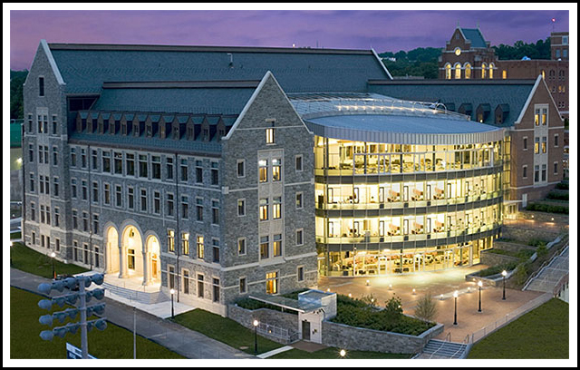 The new McDonough School of Business (MSB) building is located within the Georgetown University Campus in Washington DC.  The building is comprised of two stories of below grade parking, and five stories above grade construction including offices, support spaces, common areas, and several large lecture spaces including a 2-story auditorium. Architect: Goody Clancy
