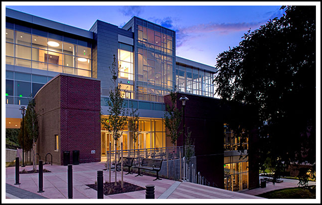 The new West Village Commons building is the center of student life within the University's West Village precinct. The 85,000 SF building houses both retail and traditional campus dining operations, as well as gatherings and study spaces, offices for student services and student organizations, meeting rooms, and a large convention-type event space. Architect: GWWO, Inc.